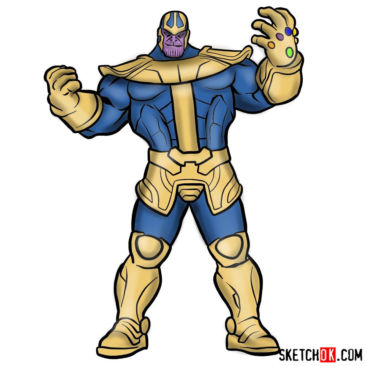 how to draw thanos from marvel comics in full growth step by step