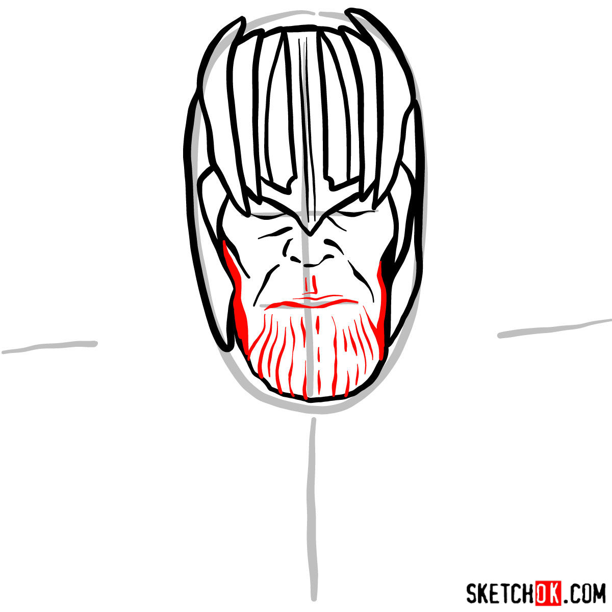 How to draw Thanos in his golden helmet - step 06