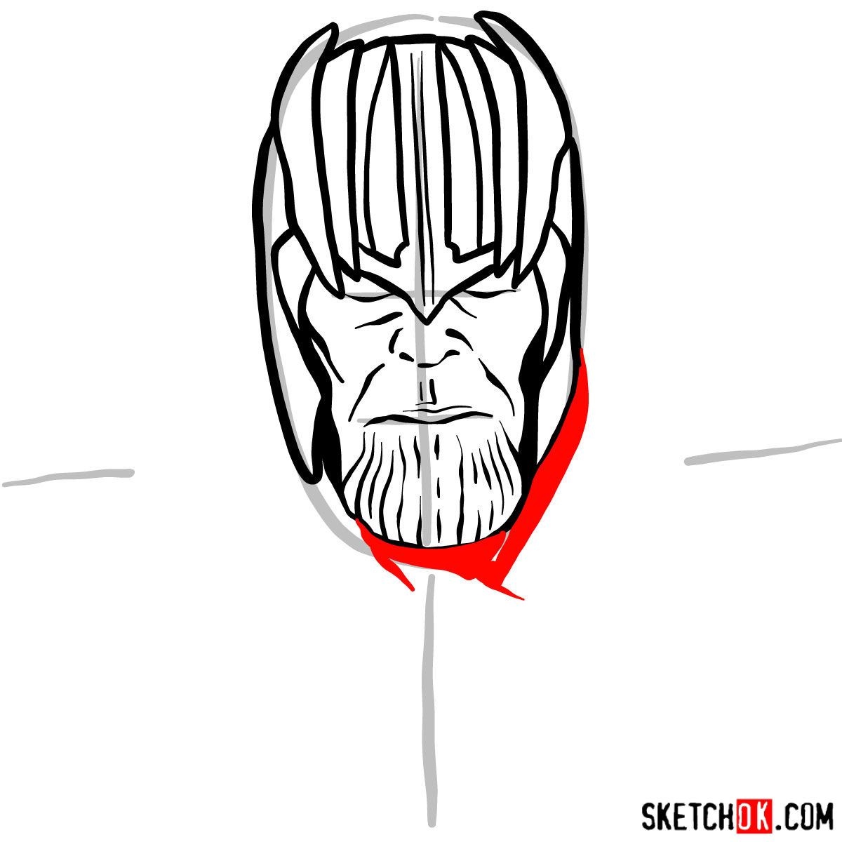 How to draw Thanos in his golden helmet - step 07