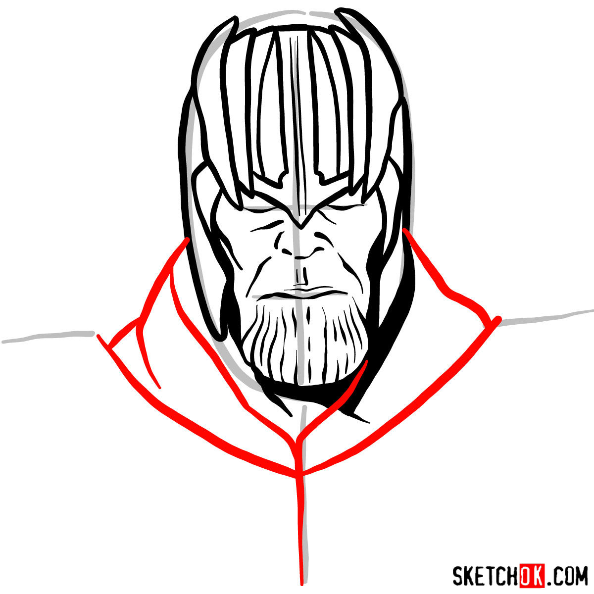 How to draw Thanos in his golden helmet - step 08