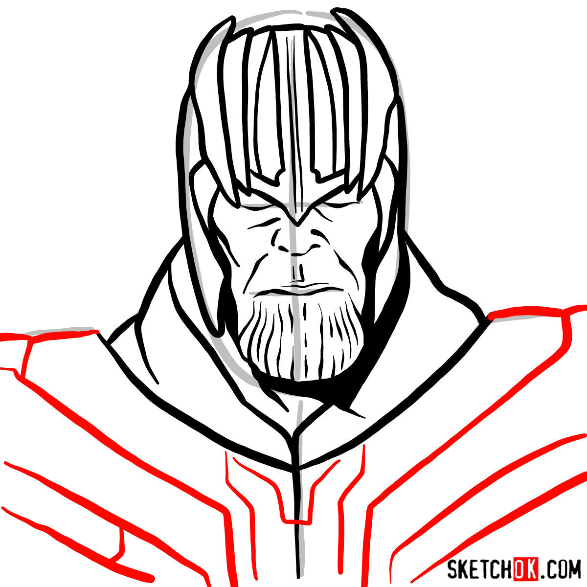 How to draw Thanos in his golden helmet - step 09