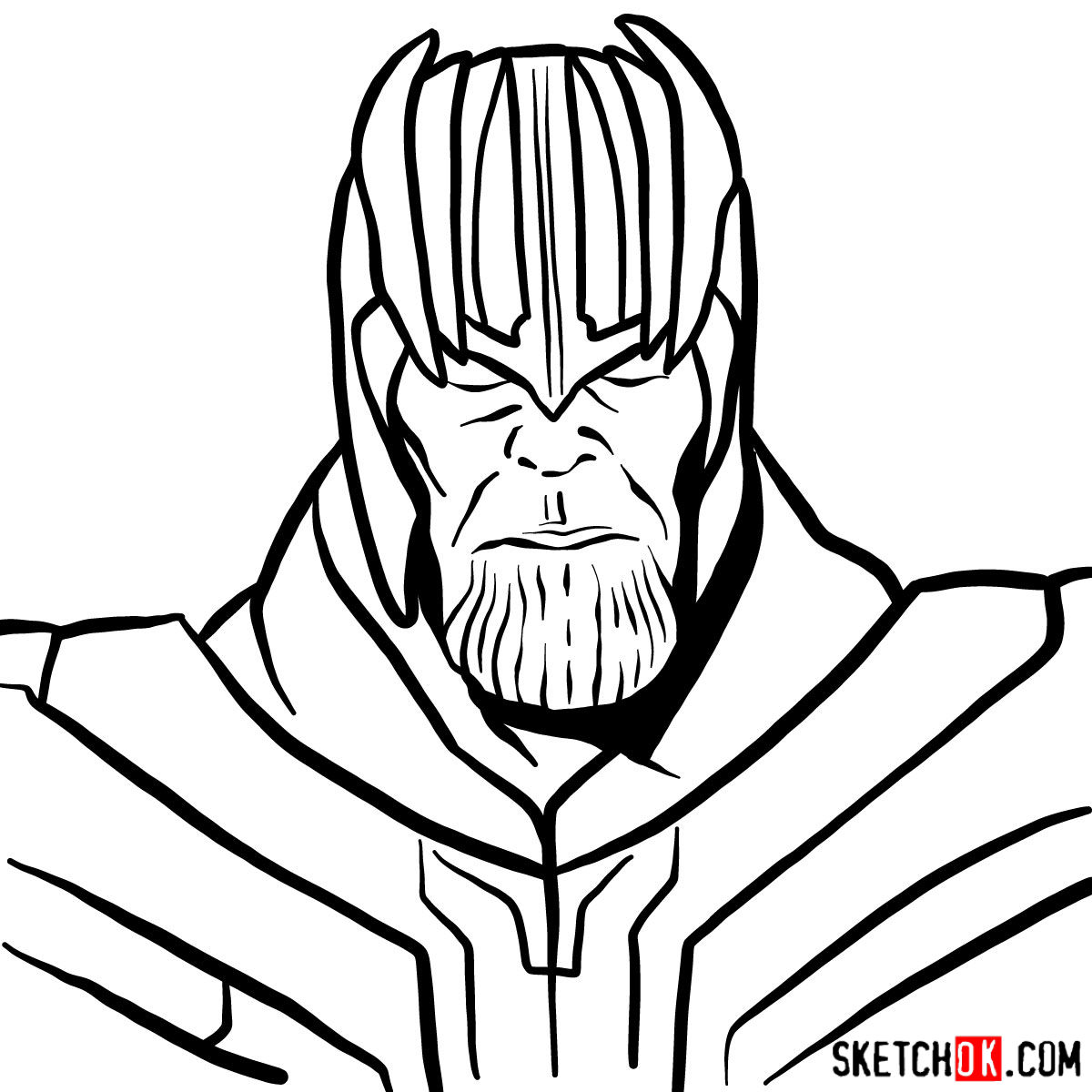 How to draw Thanos in his golden helmet - step 10