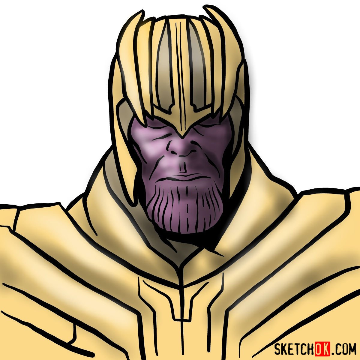 How to draw Thanos in his golden helmet