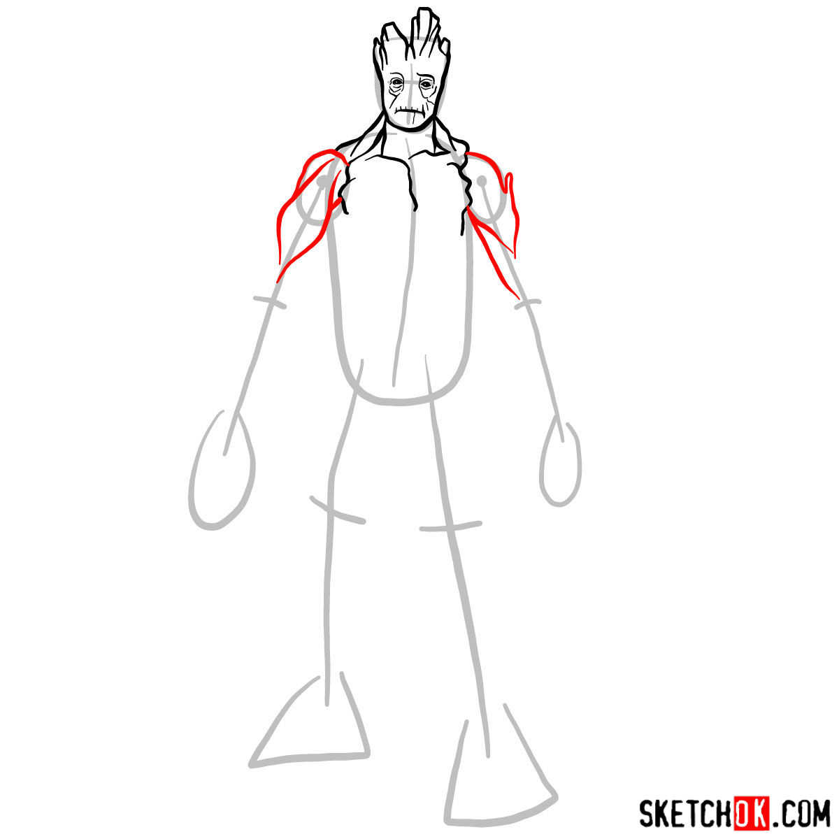 How to draw Groot in full growth - step 06