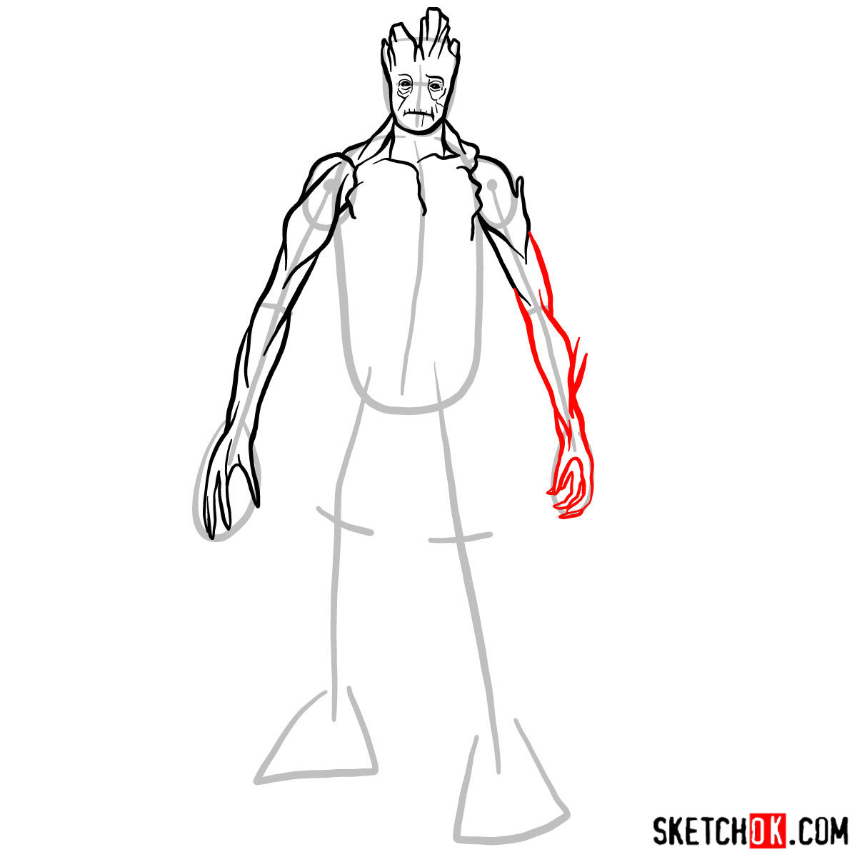 How to draw Groot in full growth - step 08