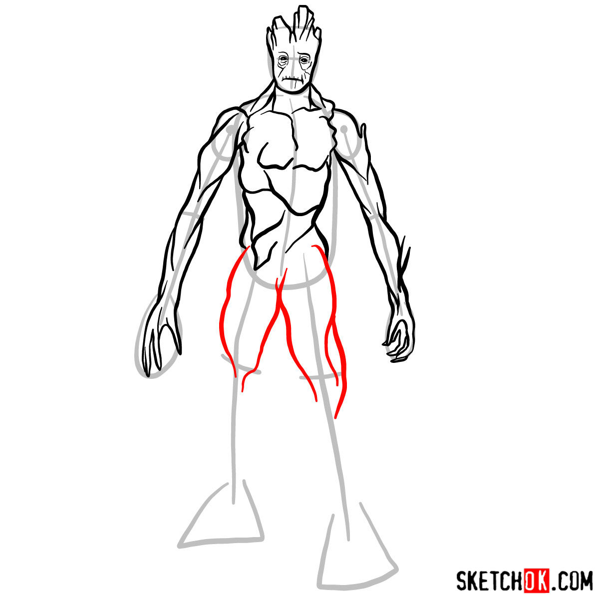 How to draw Groot in full growth - step 10