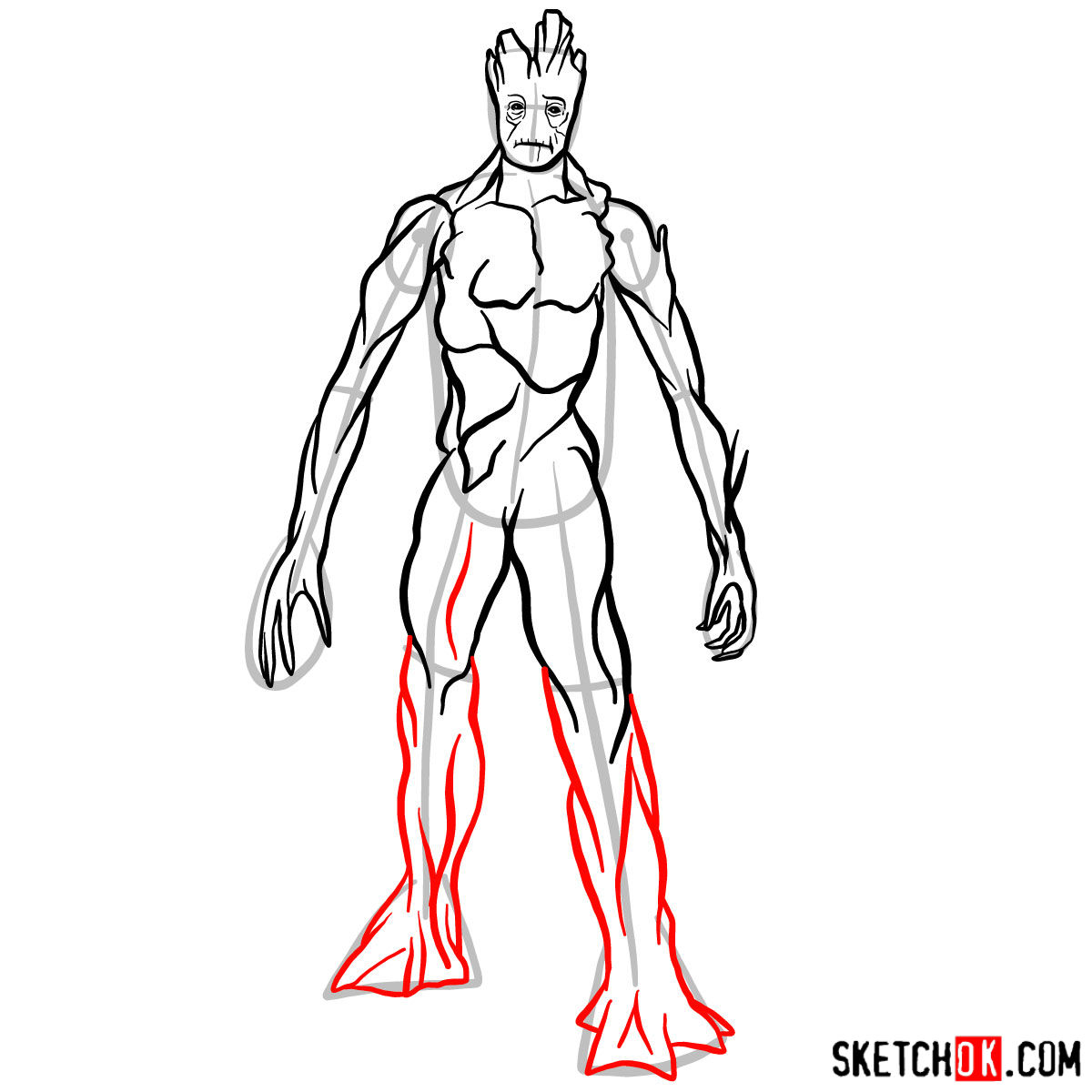 How to draw Groot in full growth - step 11