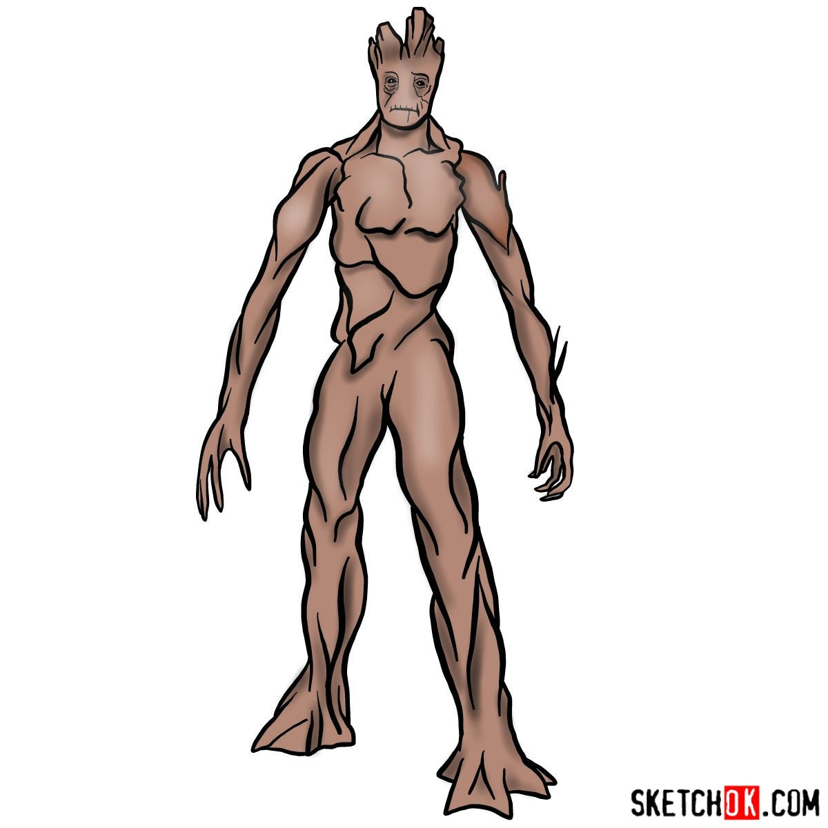 How to draw Groot in full growth