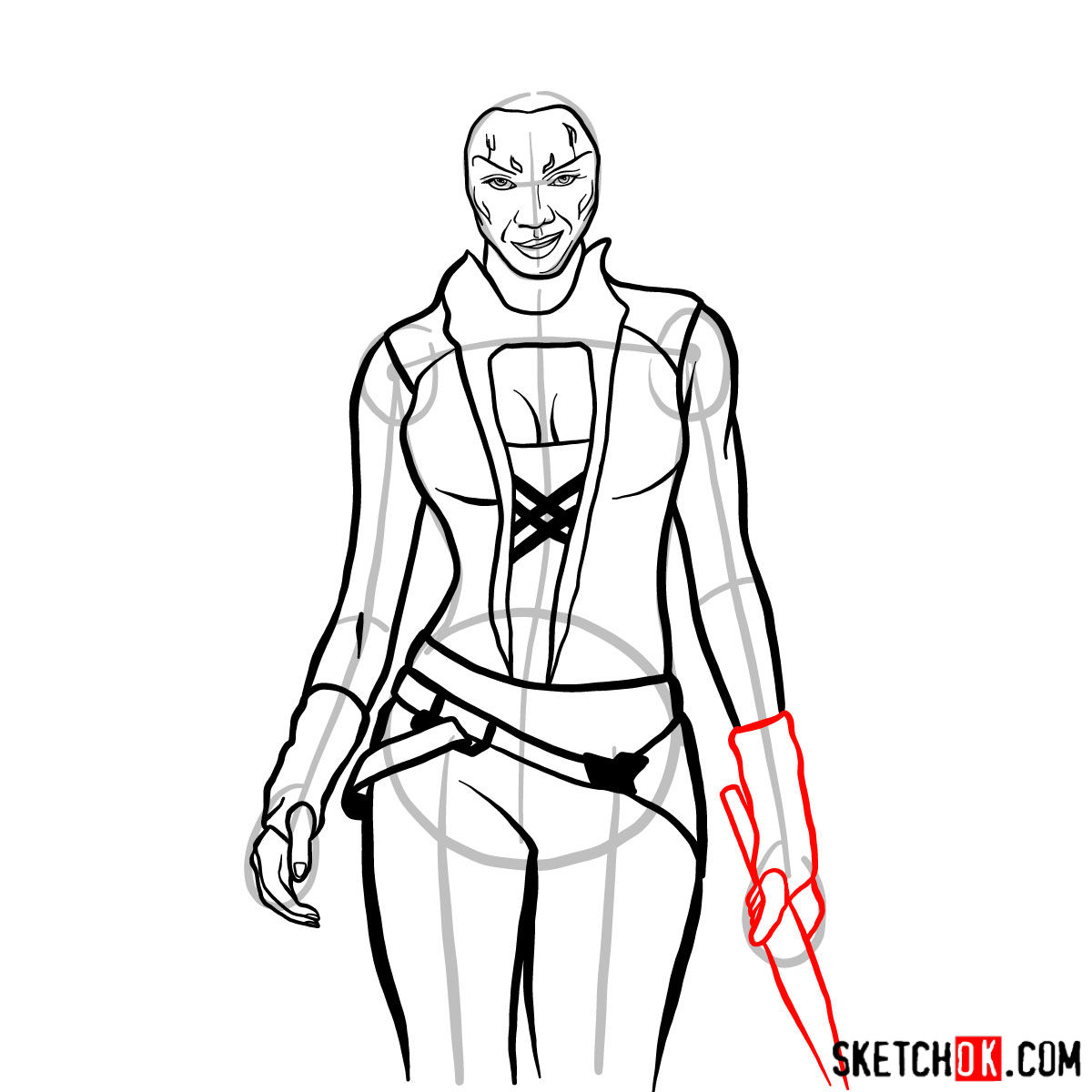 How to draw Gamora from Guardians of the Galaxy - step 11