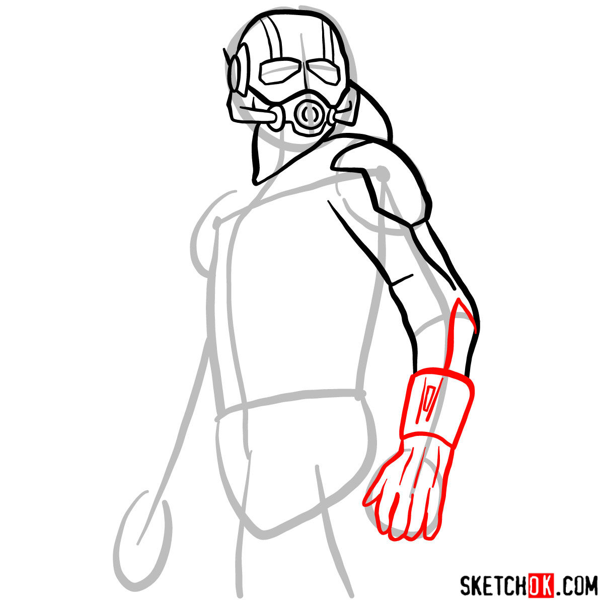 How to draw Ant-Man from 2015 film -  step 06