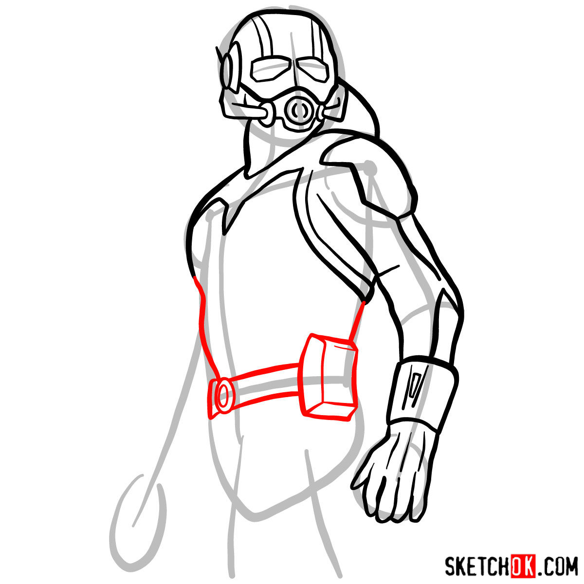 How to draw Ant-Man from 2015 film - step 08