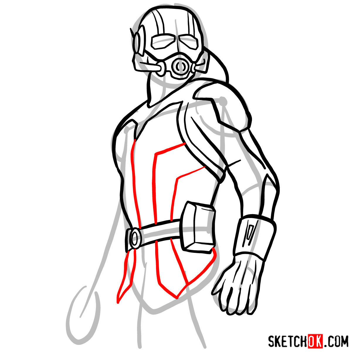 How to draw Ant-Man from 2015 film - step 09
