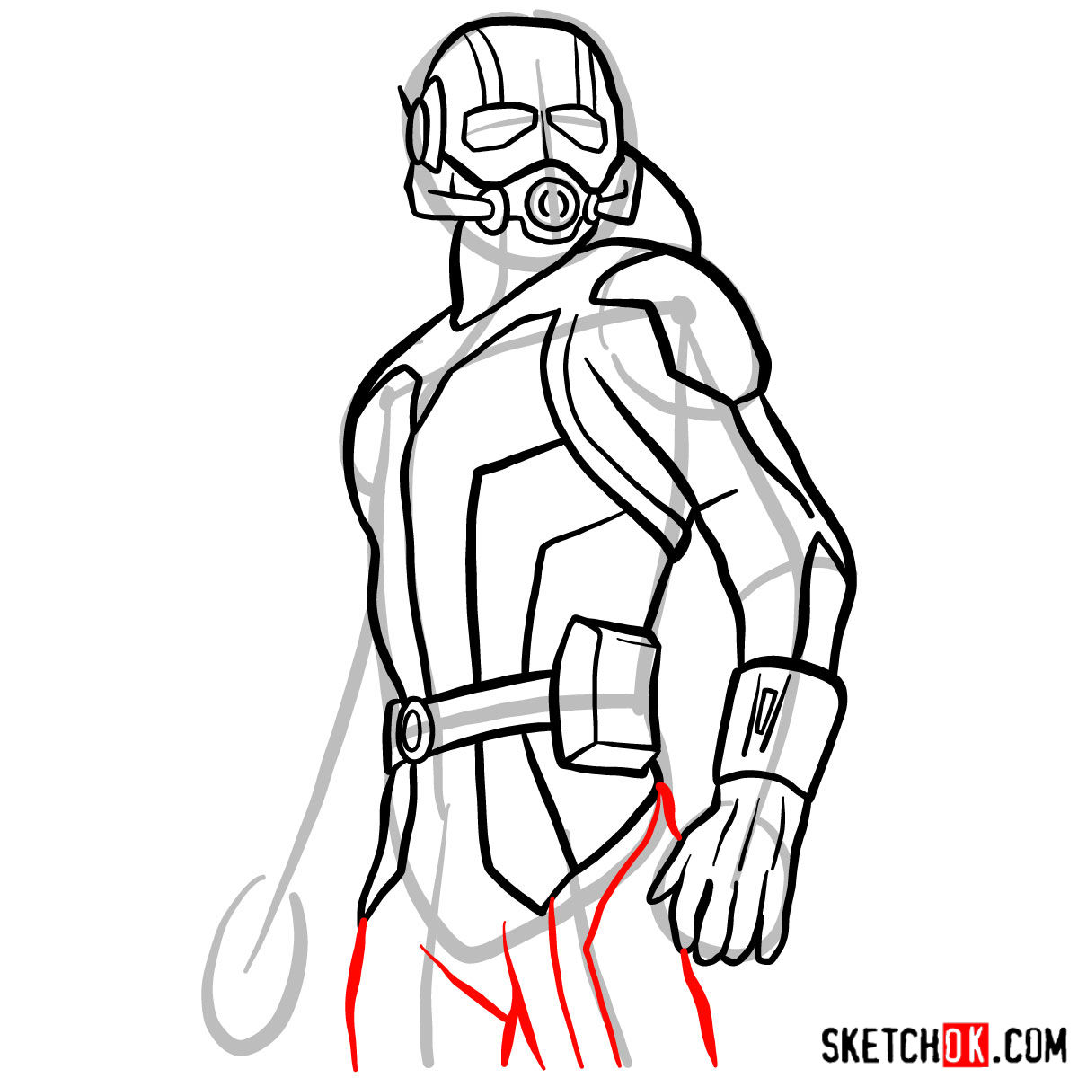 How to draw Ant-Man from 2015 film - step 10