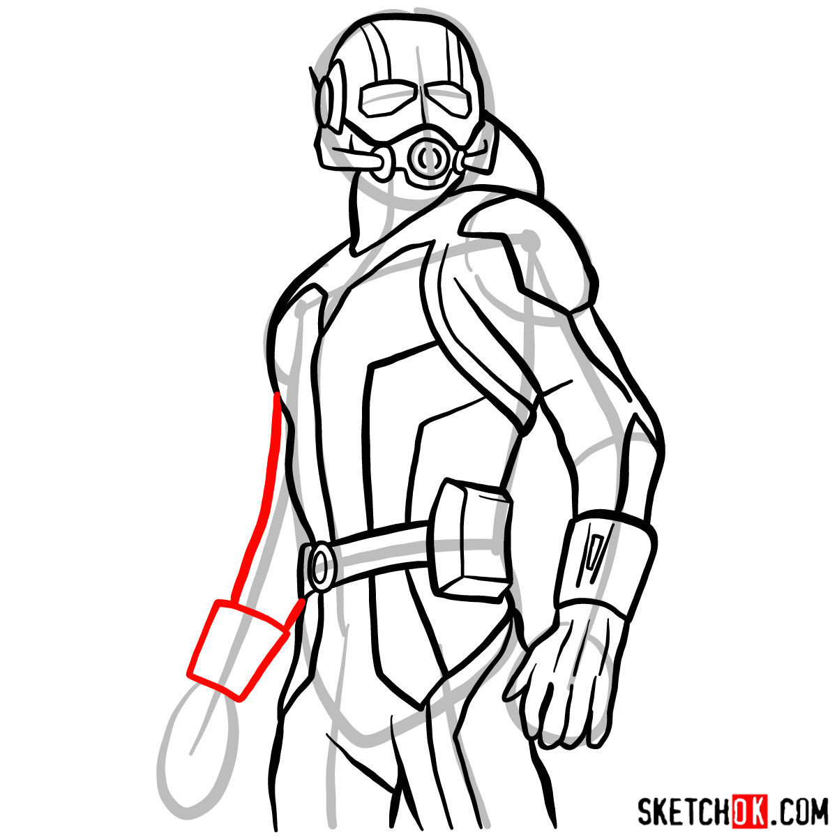 How to draw Ant-Man from 2015 film - step 11