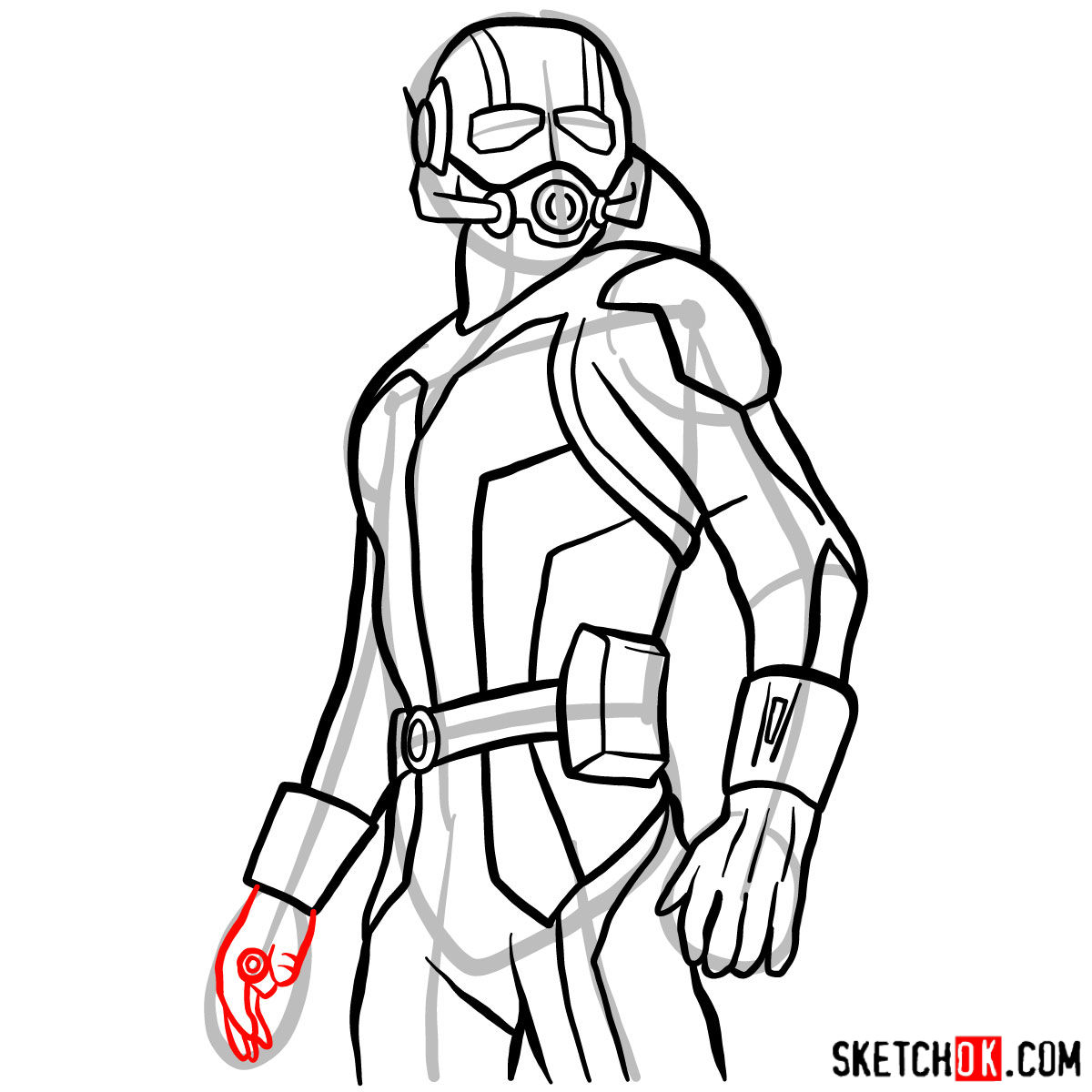 How to draw Ant-Man from 2015 film - step 12
