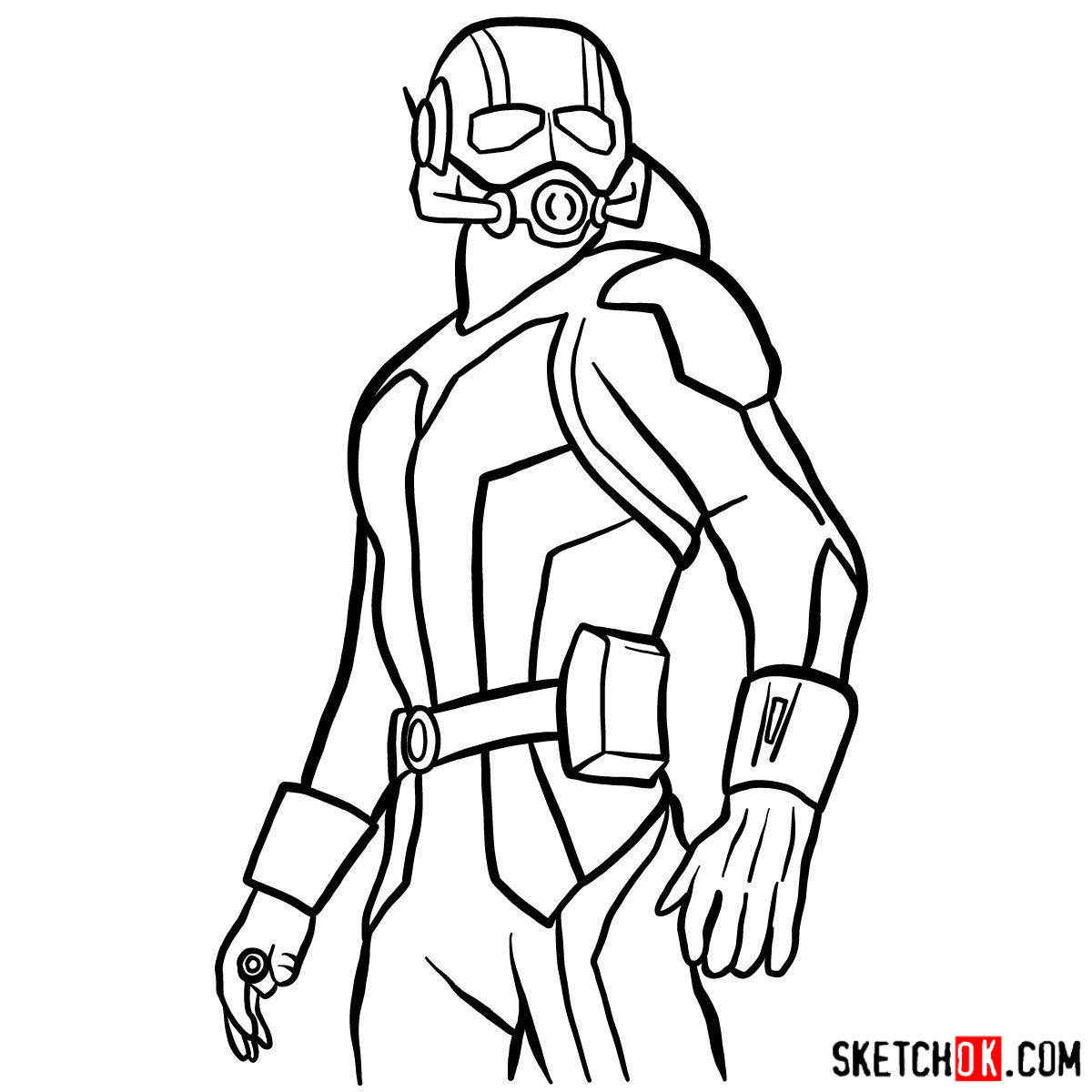 How to draw Ant-Man from 2015 film - step 13
