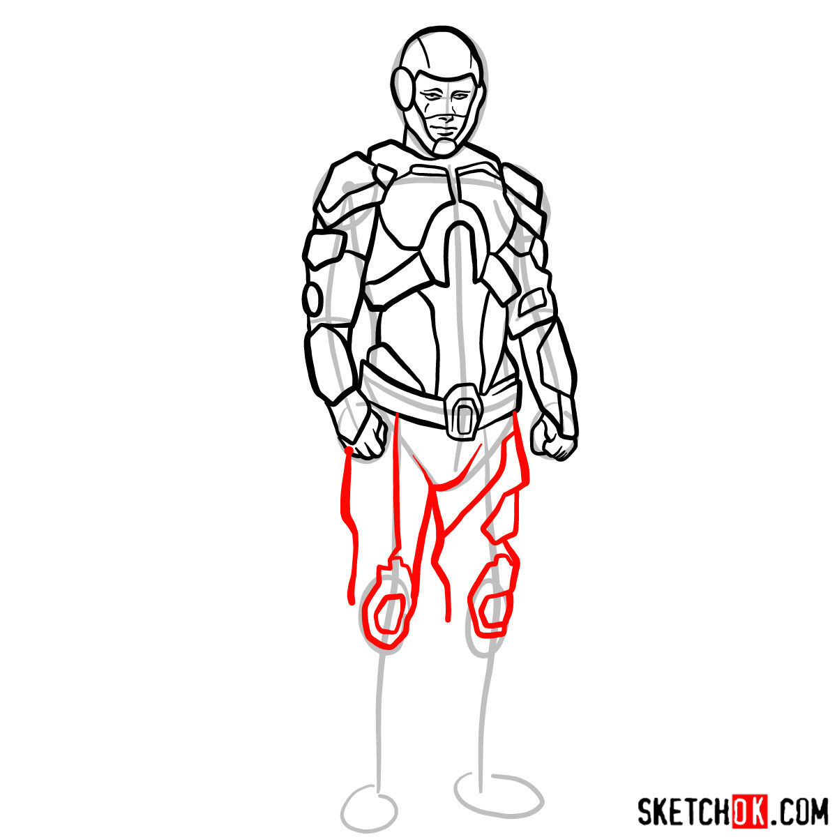 How to draw The Atom from DC Comics - step 12