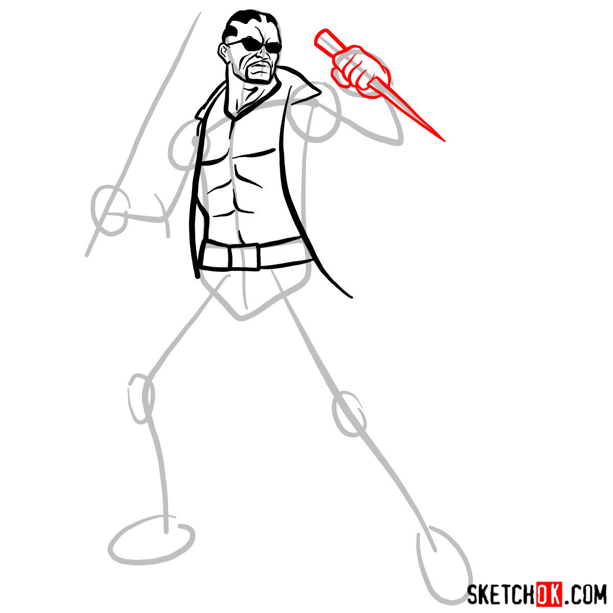 How to draw Blade from Marvel Comics - step 08