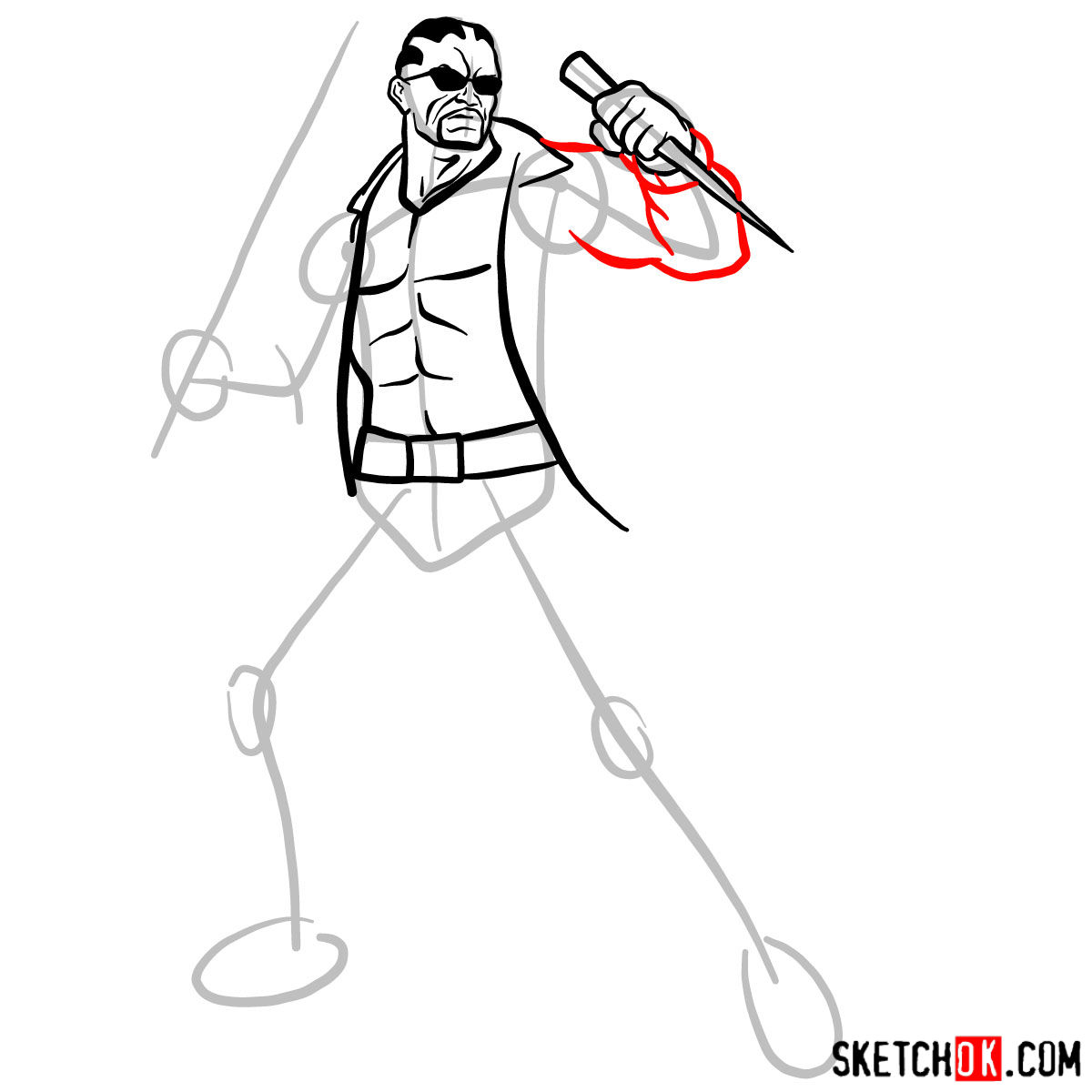 How to draw Blade from Marvel Comics - step 09