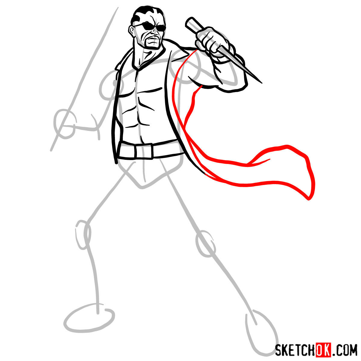 How to draw Blade from Marvel Comics - step 10