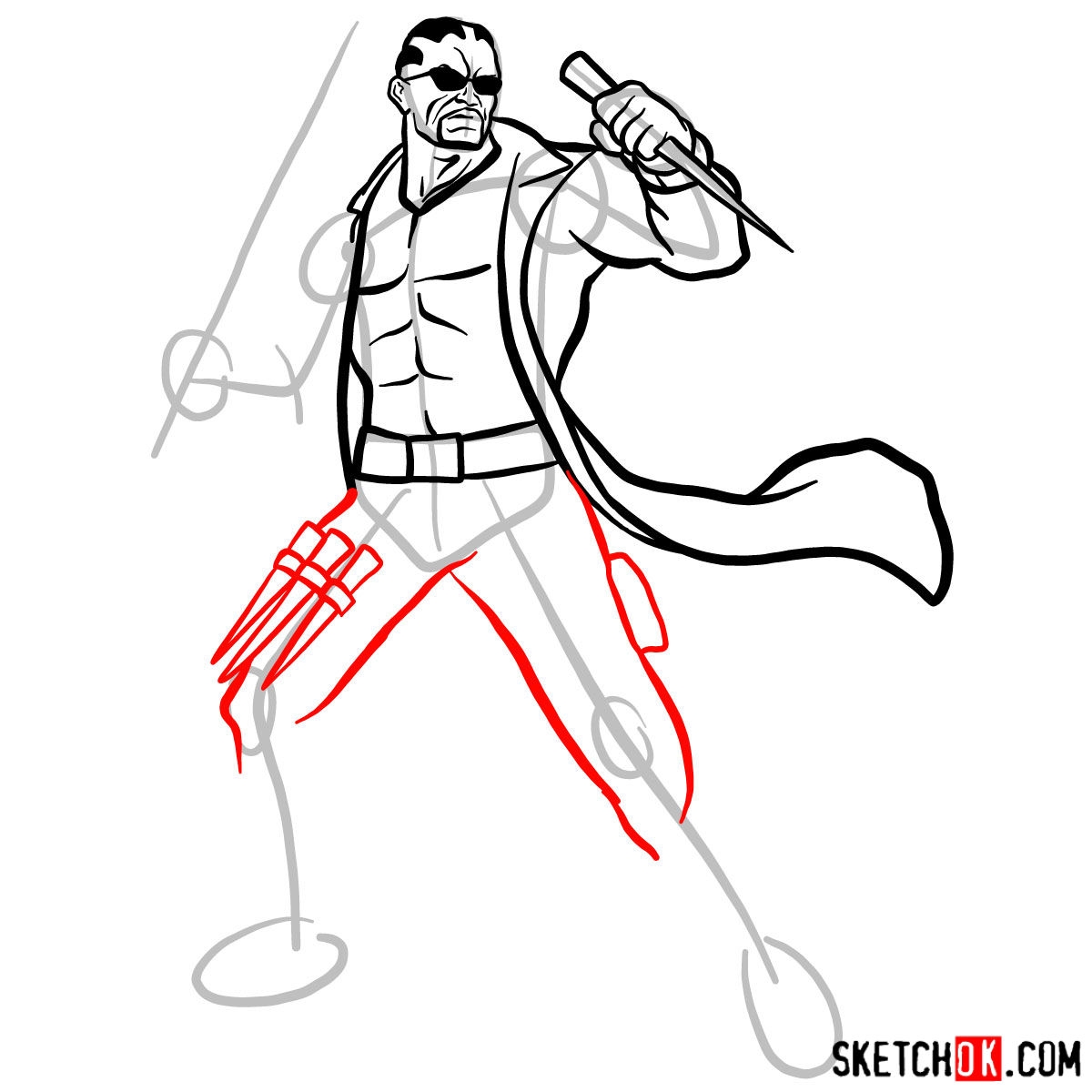 How to draw Blade from Marvel Comics - step 11