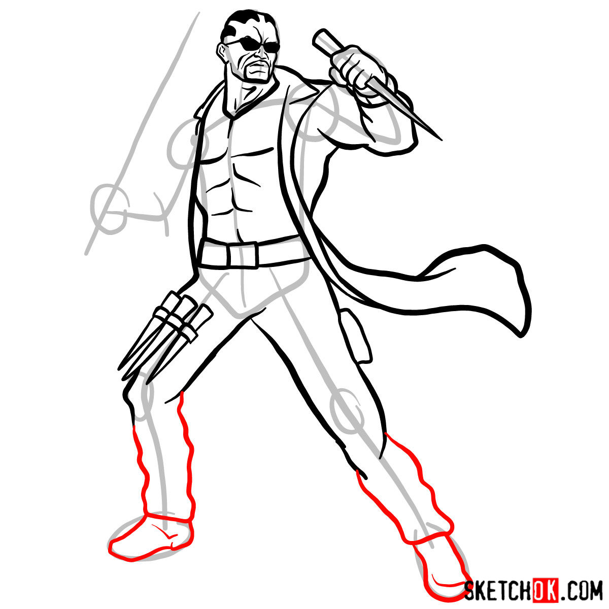 How to draw Blade from Marvel Comics - step 12
