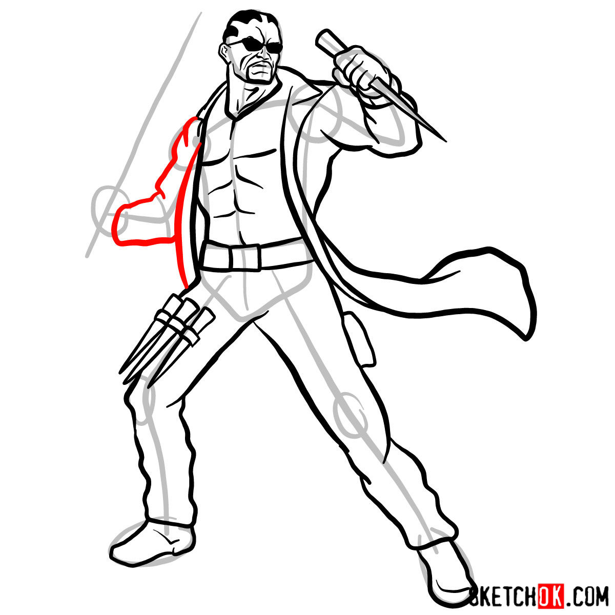 How to draw Blade from Marvel Comics - step 13