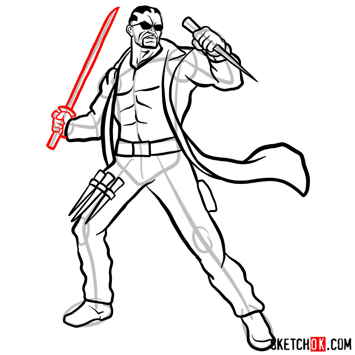 How to draw Blade from Marvel Comics - step 14