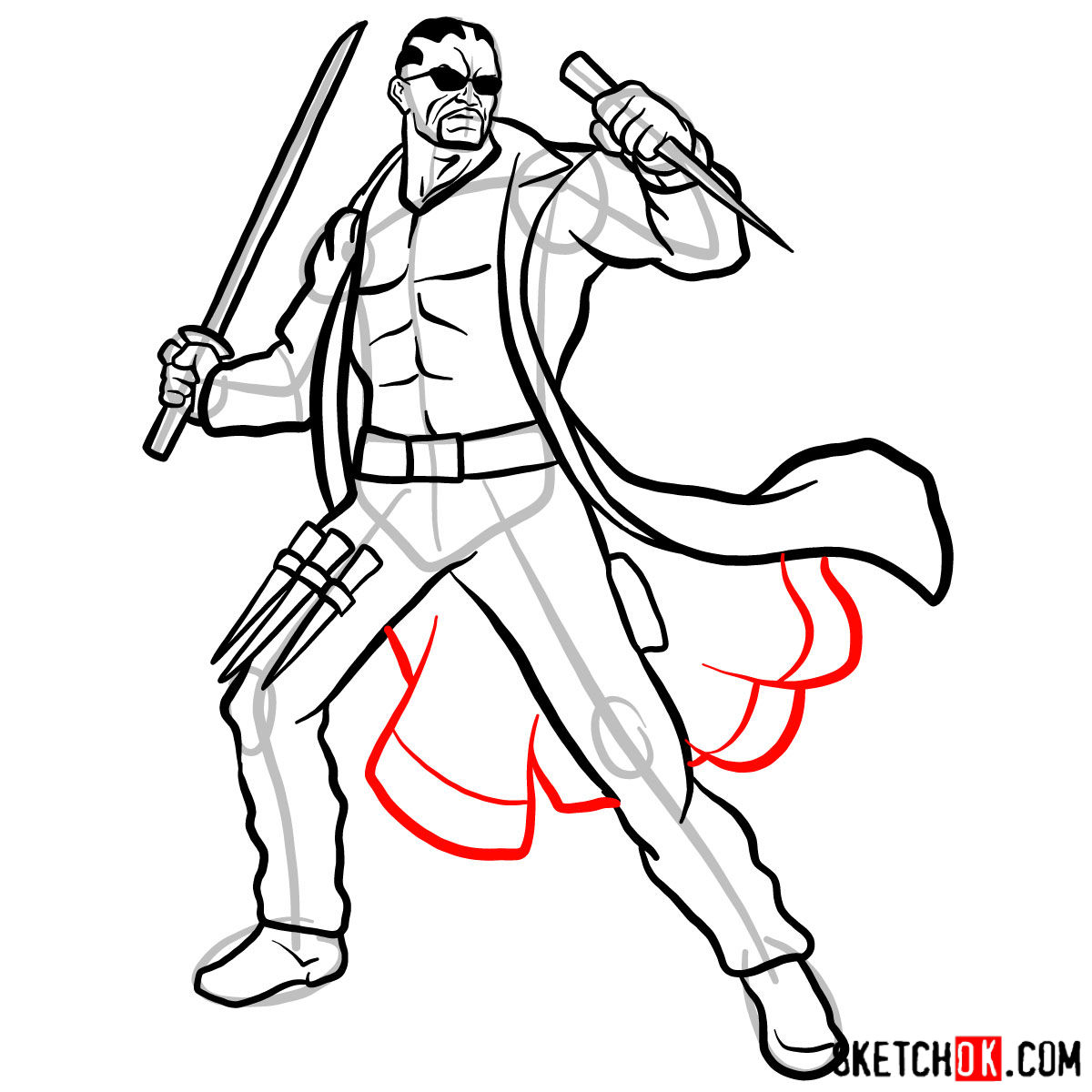 How to draw Blade from Marvel Comics - step 15