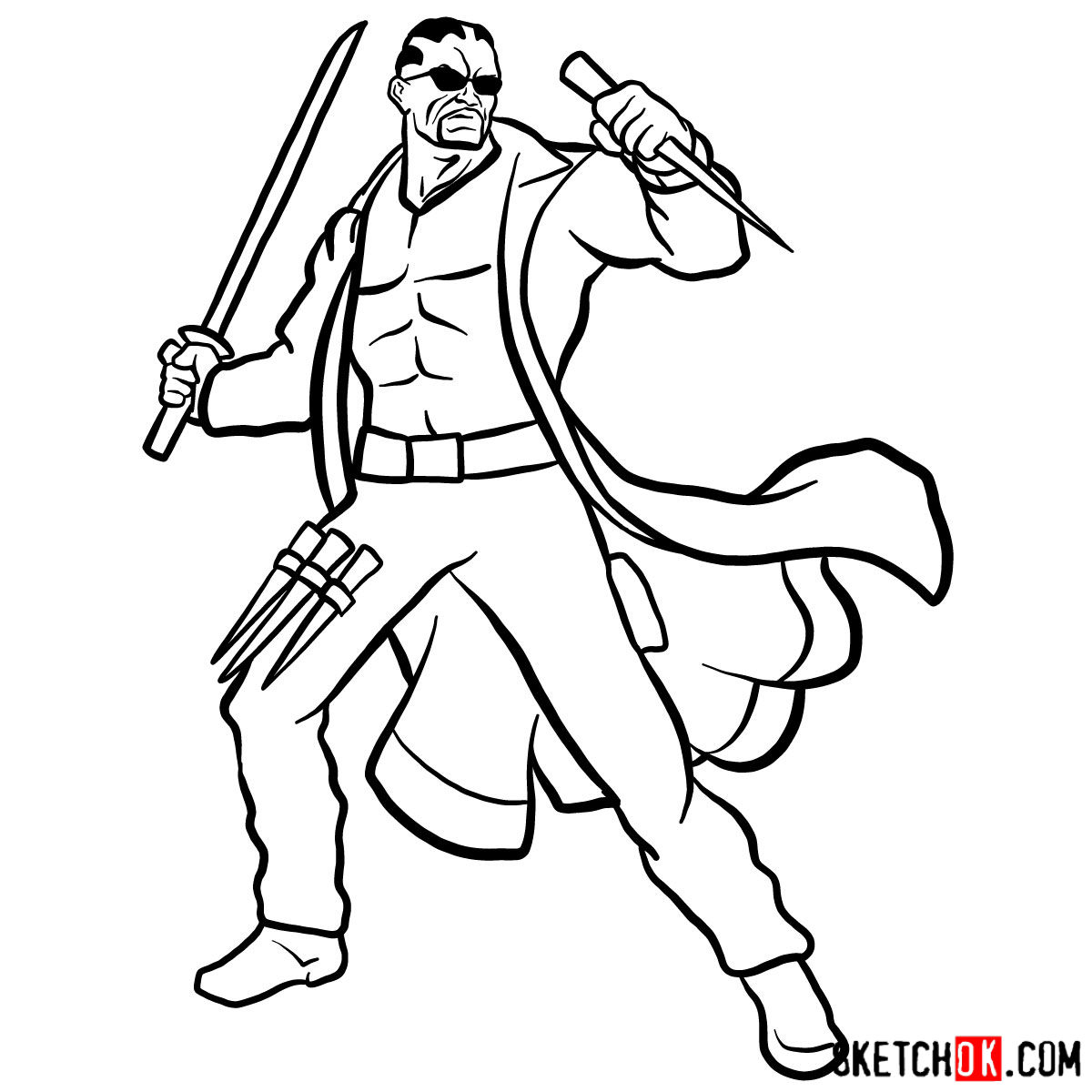 How to draw Blade from Marvel Comics - step 16