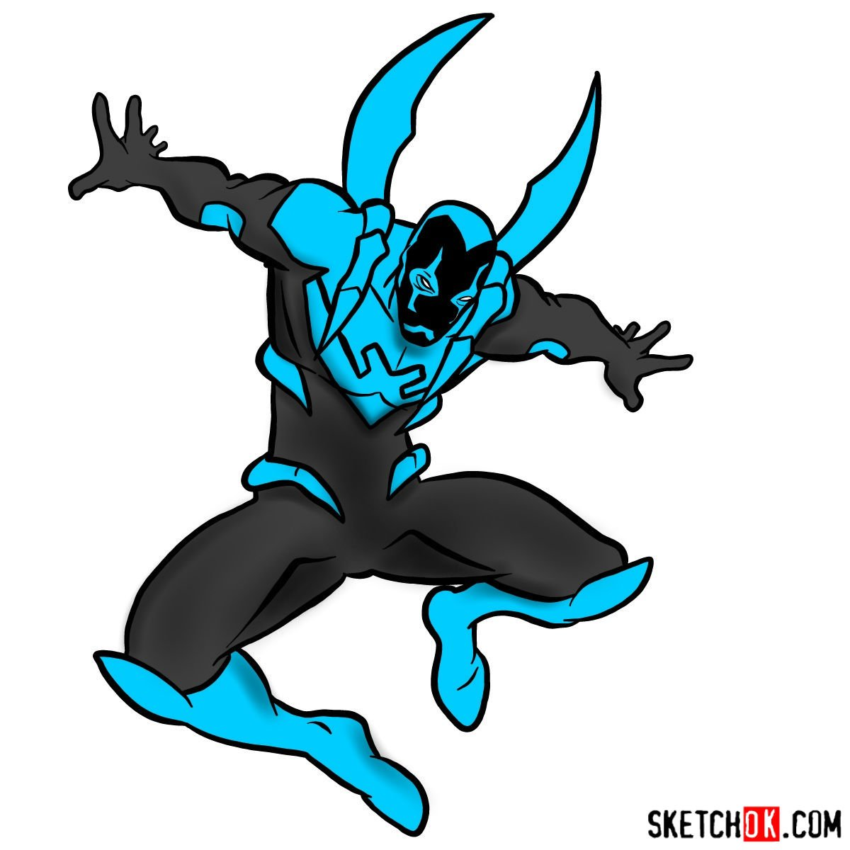How to draw Blue Beetle