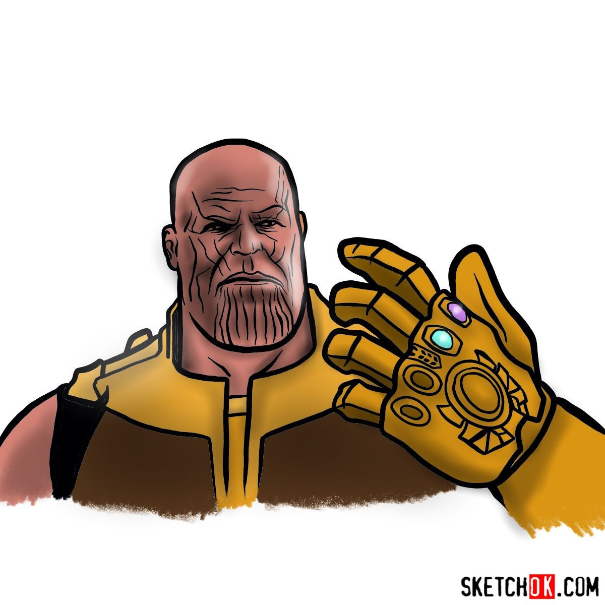 How to draw Thanos from the Avengers: Infinity War 2018 film