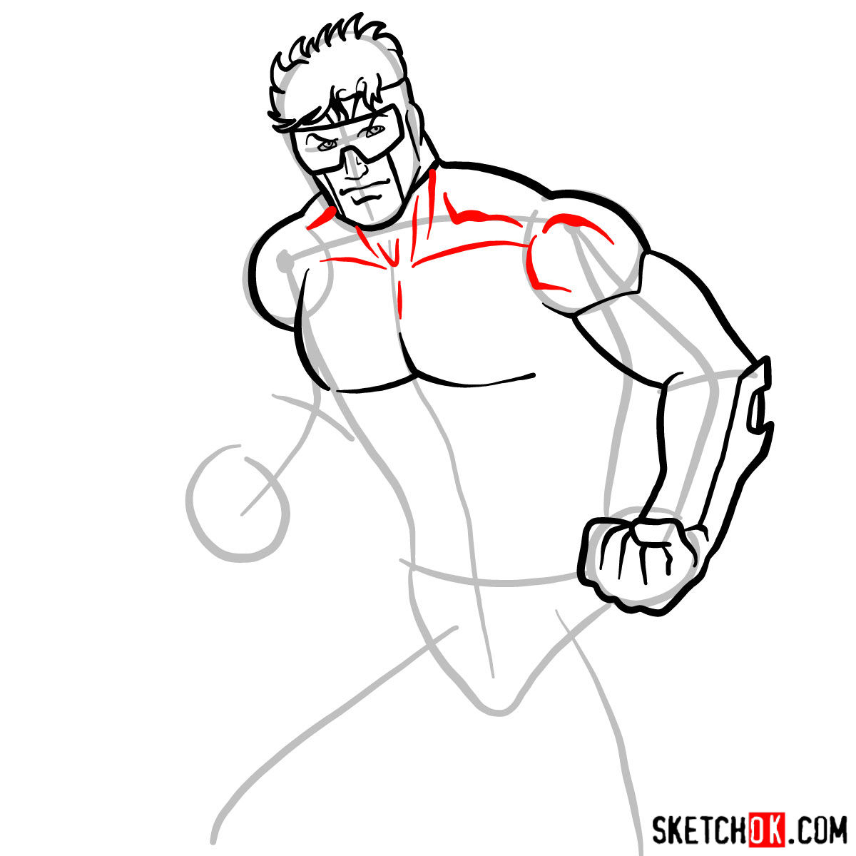 How to draw Booster Gold - step 07