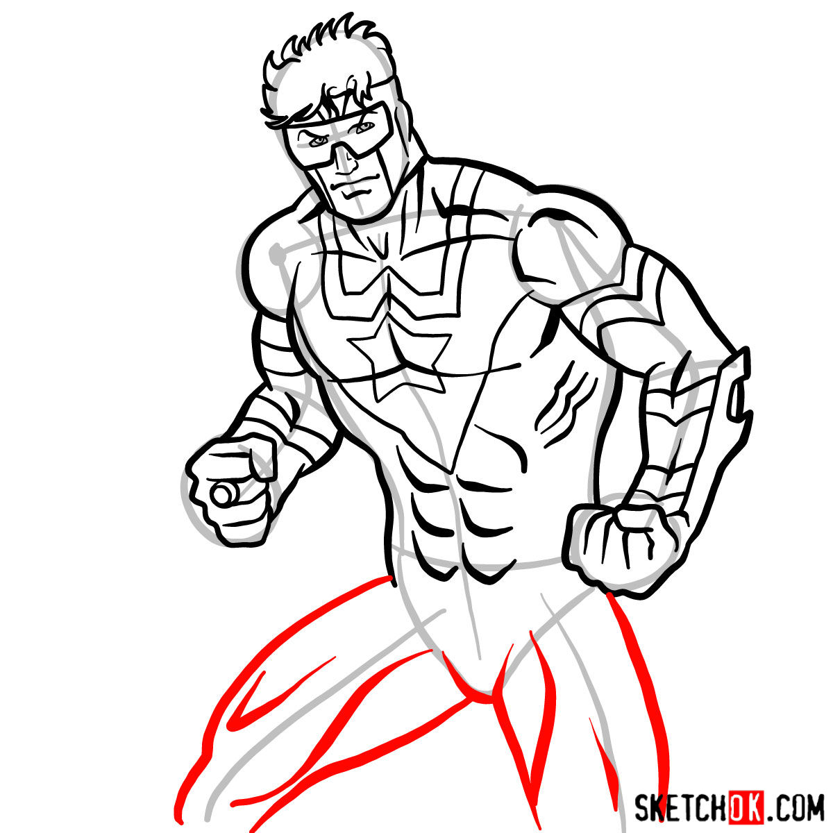 How to draw Booster Gold - step 12