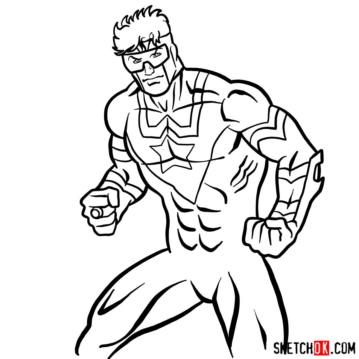 How to draw Booster Gold - step 13