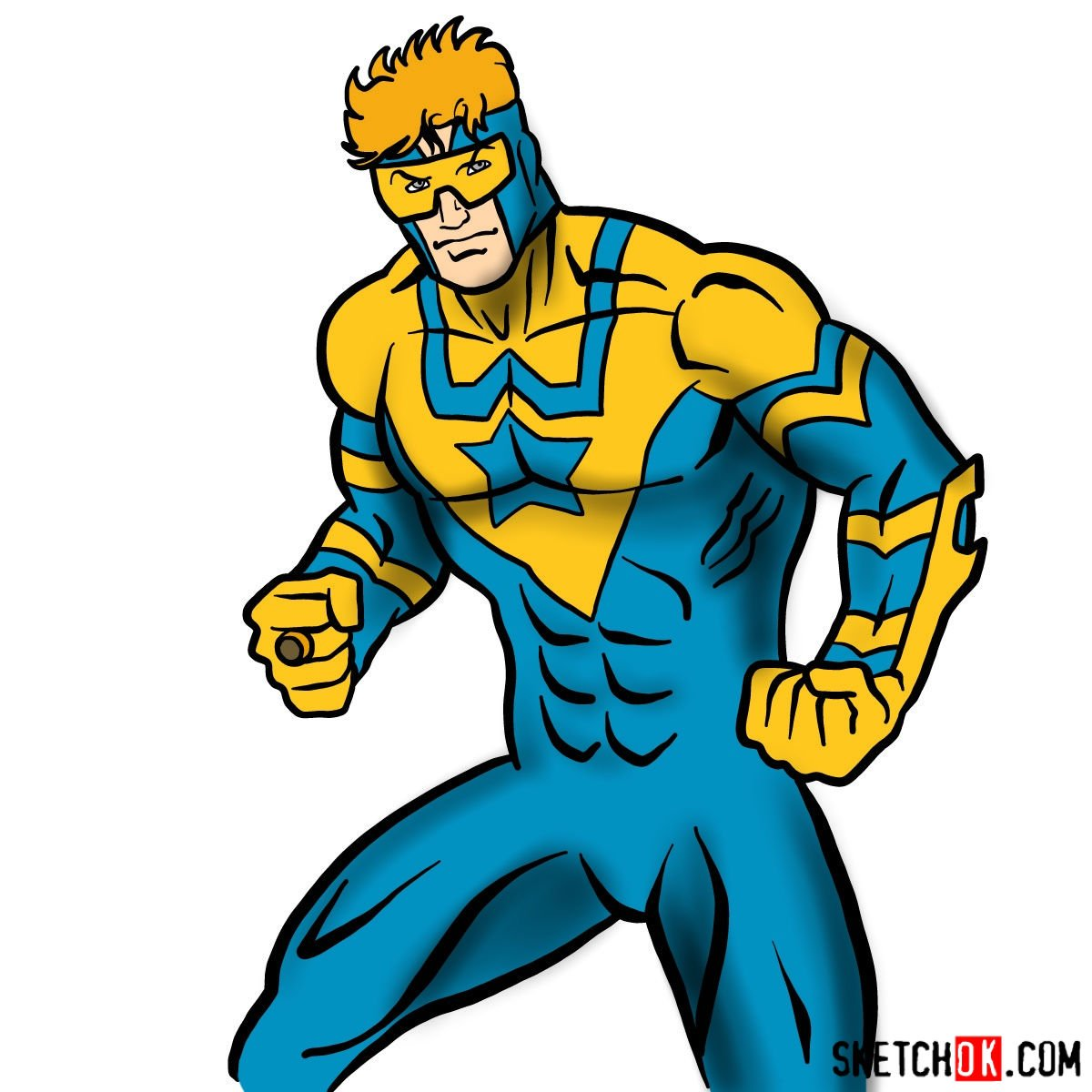 How to draw Booster Gold - coloring