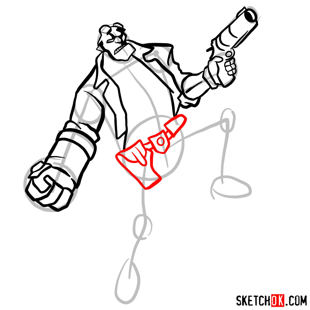 How to draw Hellboy with a gun - step 10
