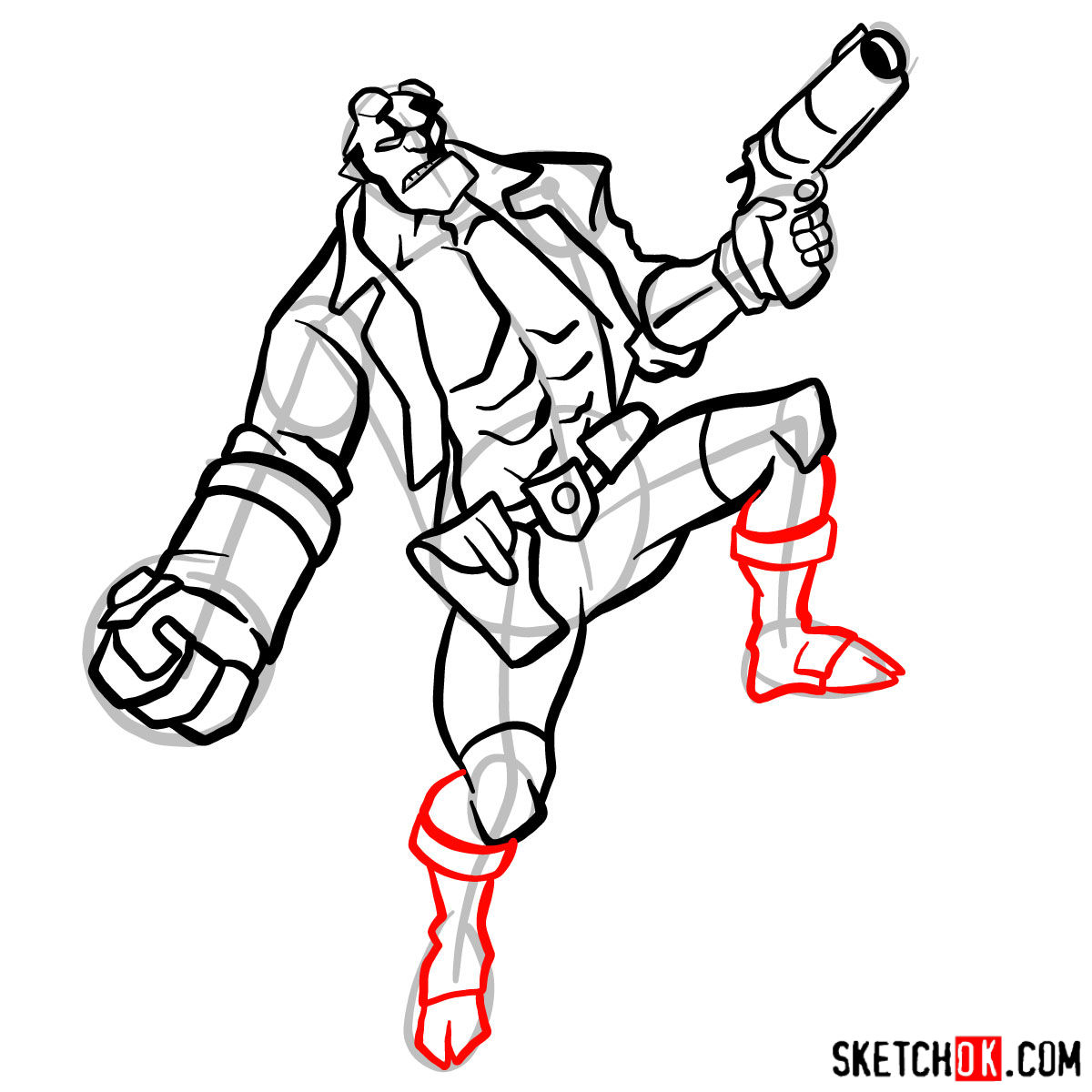 How to draw Hellboy with a gun - step 13
