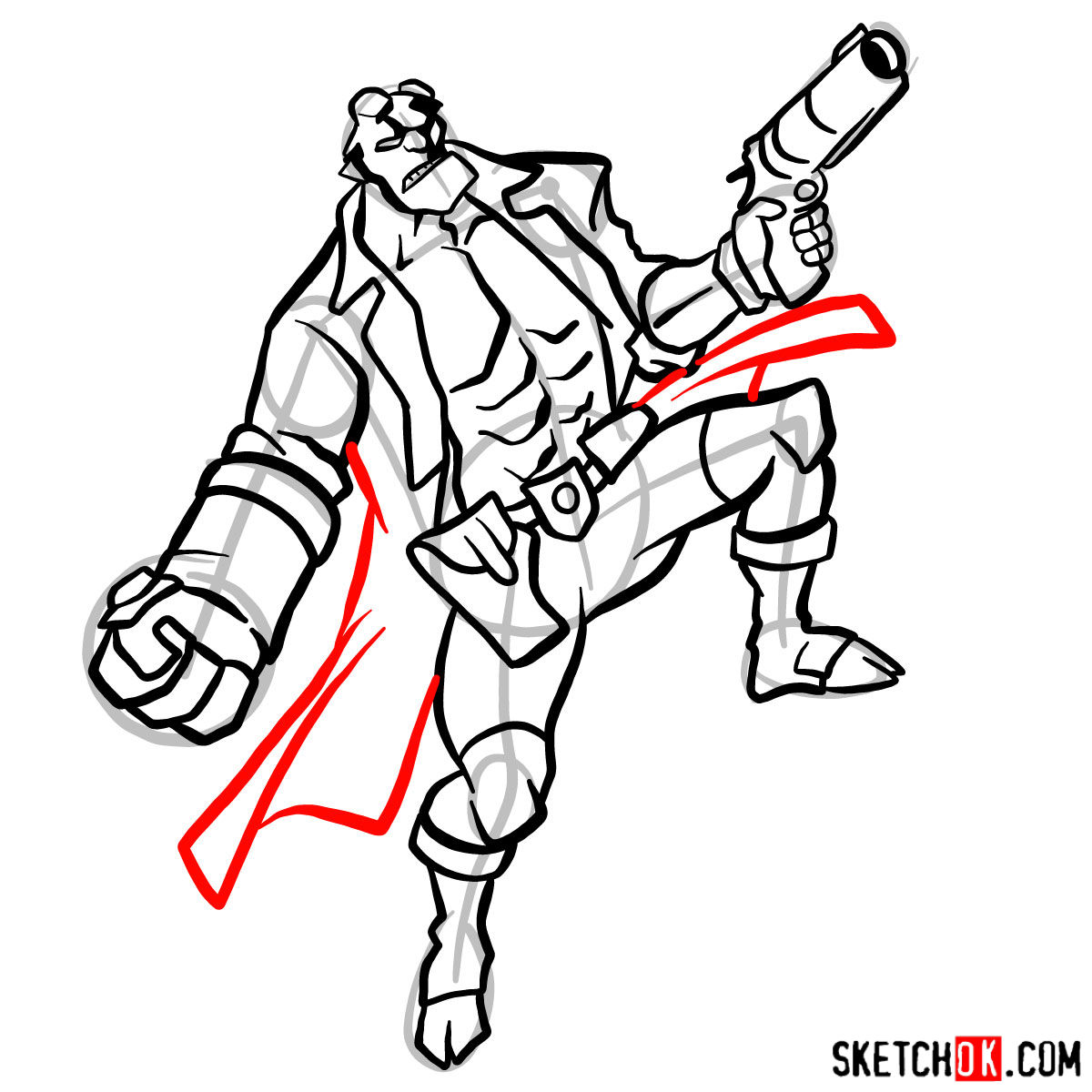 How to draw Hellboy with a gun - step 14