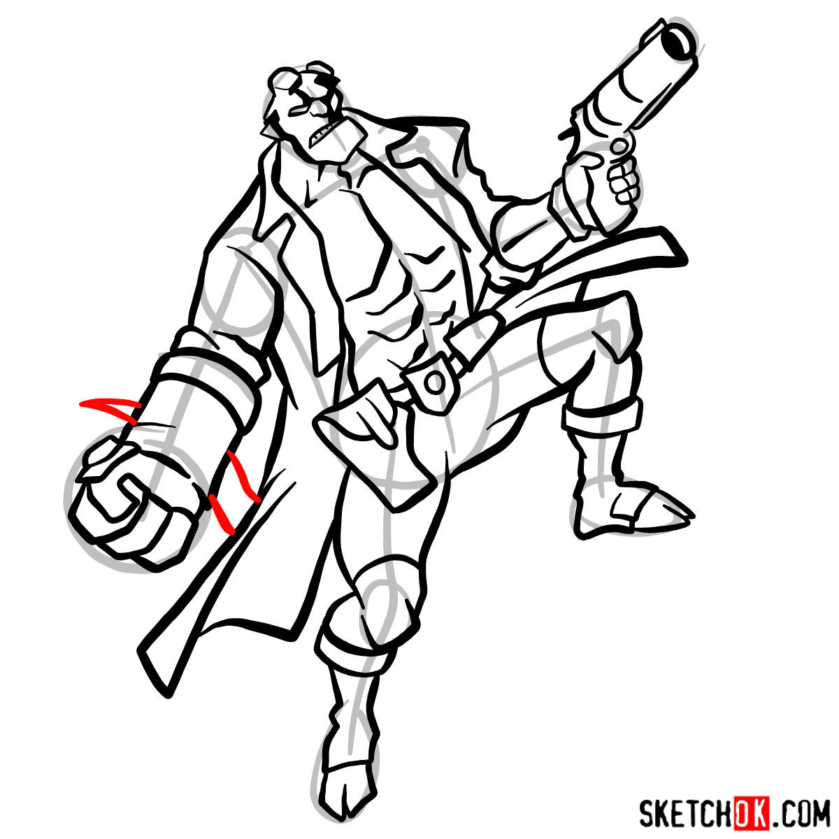 How to draw Hellboy with a gun - step 15