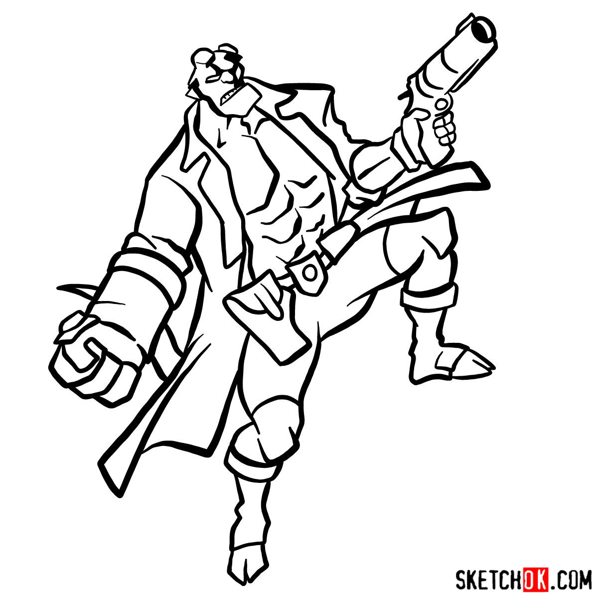 How to draw Hellboy with a gun - step 16