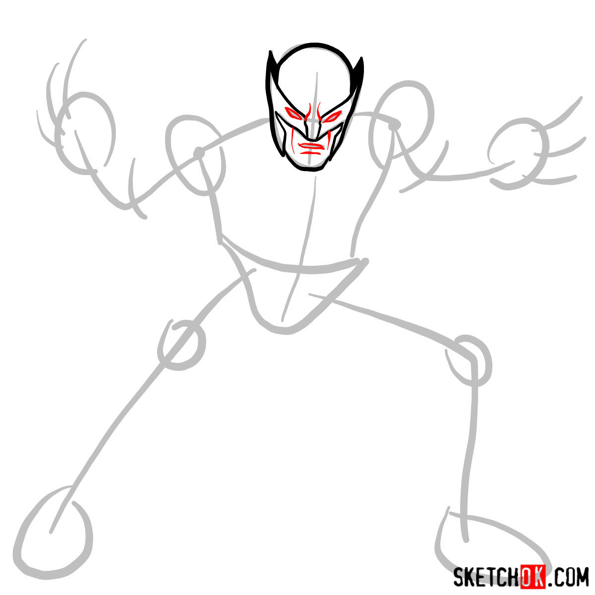 How to draw Wolverine in his superhero suit - step 04