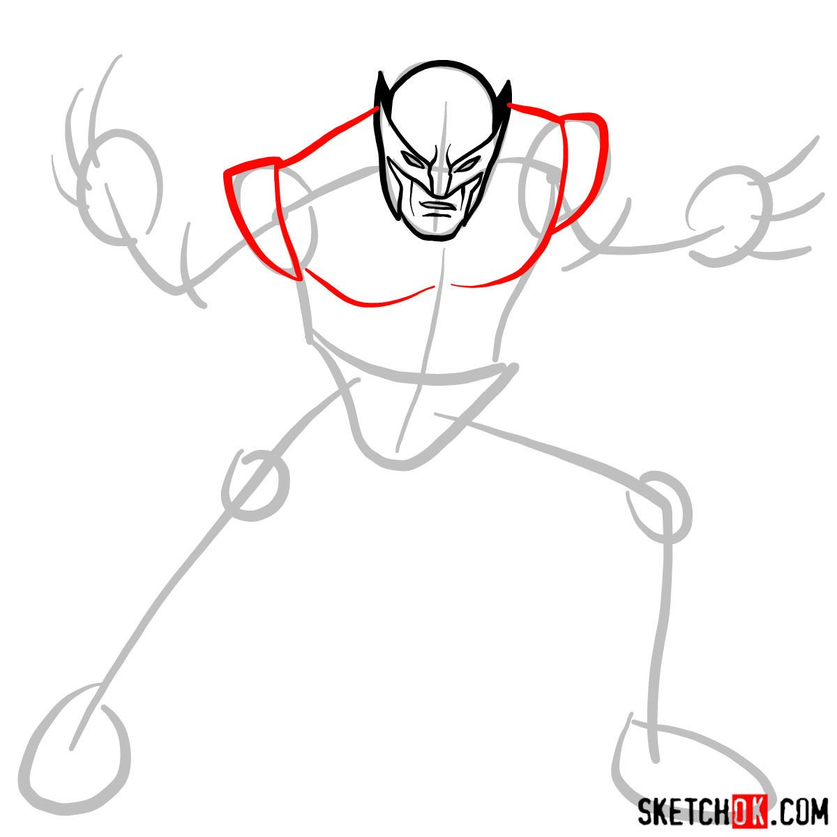 How to draw Wolverine in his superhero suit - step 05