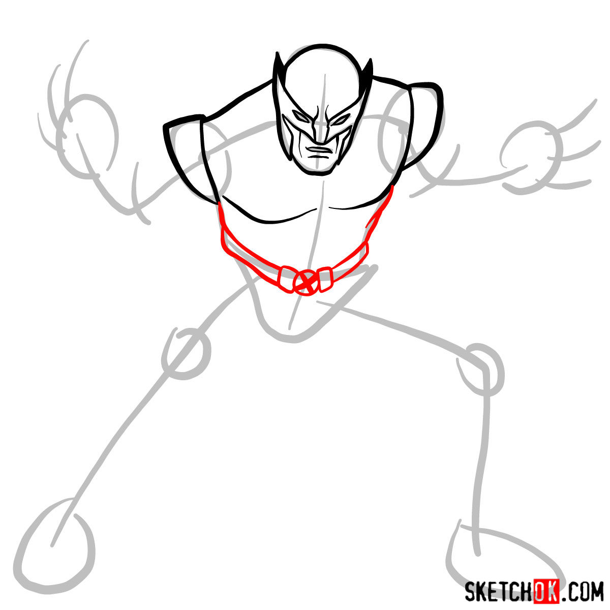 How to draw Wolverine in his superhero suit - 