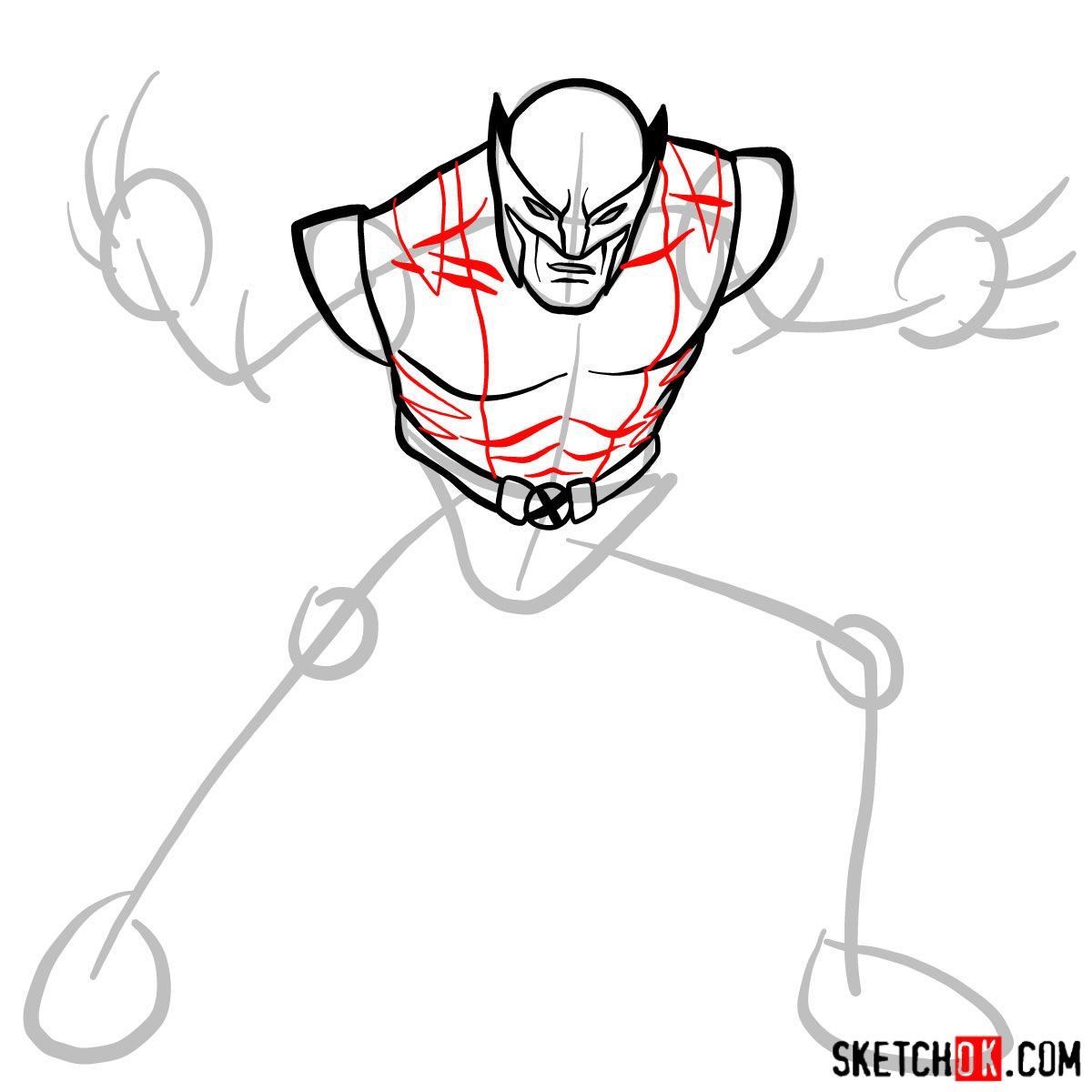 How to draw Wolverine in his superhero suit - step 07