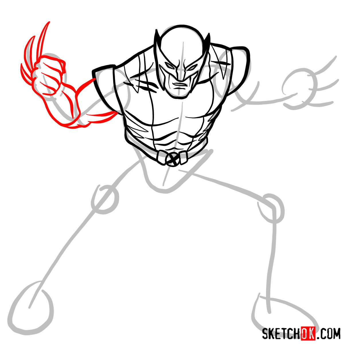 How to draw Wolverine in his superhero suit - step 08