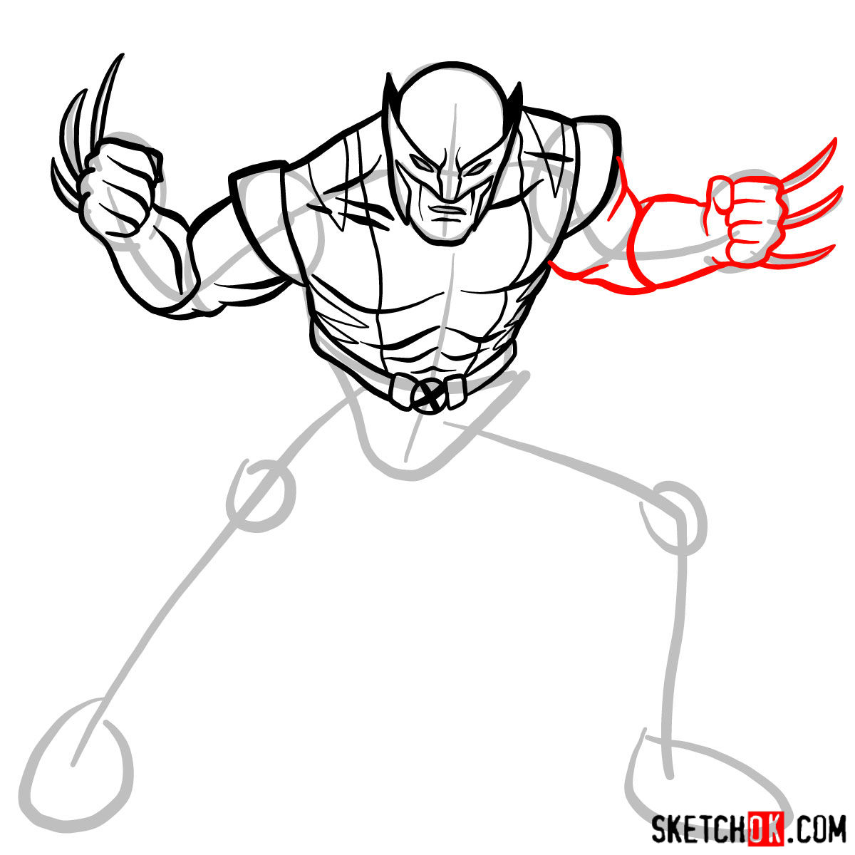 How to draw Wolverine in his superhero suit - step 09