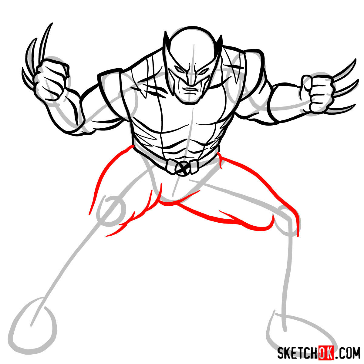 How to draw Wolverine in his superhero suit - step 10