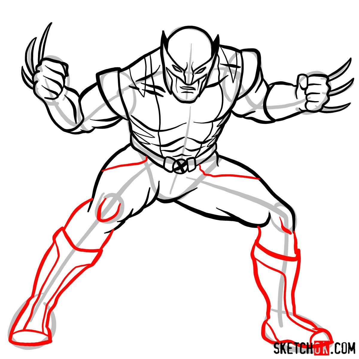 How to draw Wolverine in his superhero suit - step 11