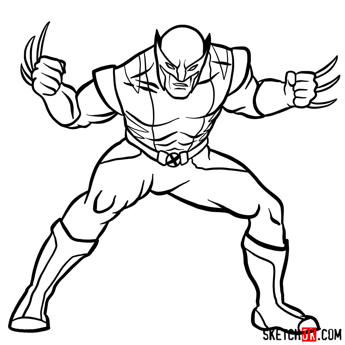 How to draw Wolverine in his superhero suit - step 12